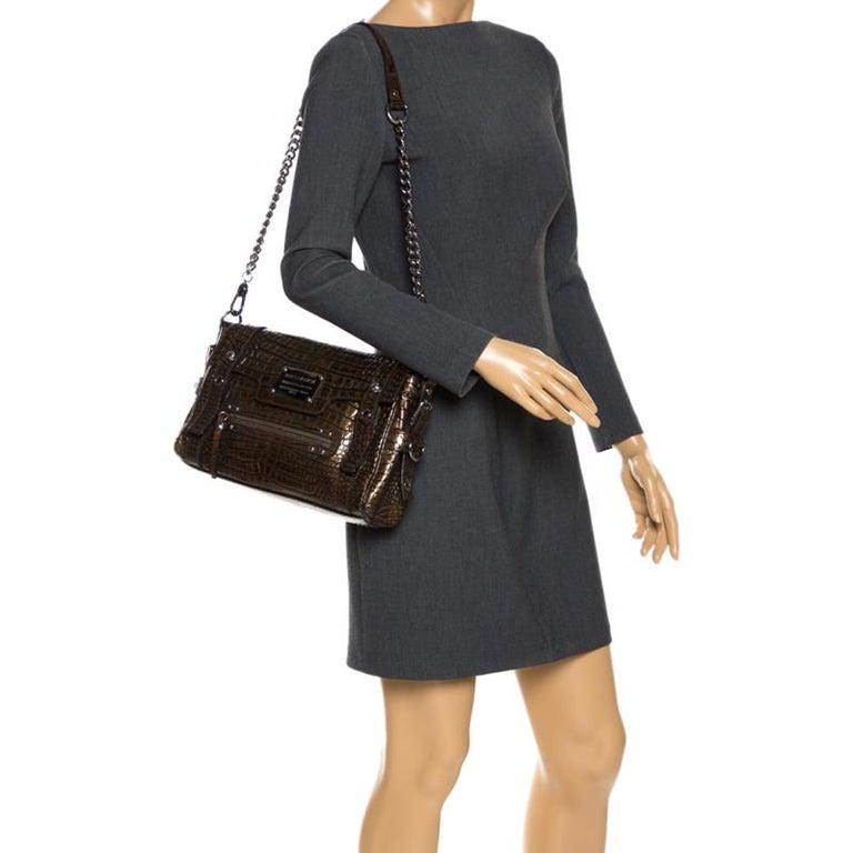 Black Dolce & Gabbana Brown Croc Embossed Patent Leather Miss Easy Way Shoulder Bag For Sale