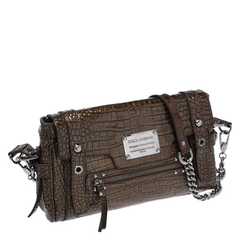 Dolce & Gabbana Brown Croc Embossed Patent Leather Miss Easy Way Shoulder Bag In Good Condition For Sale In Dubai, Al Qouz 2