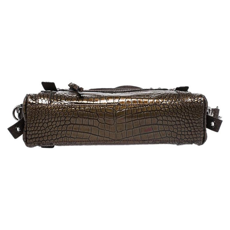 Women's Dolce & Gabbana Brown Croc Embossed Patent Leather Miss Easy Way Shoulder Bag For Sale