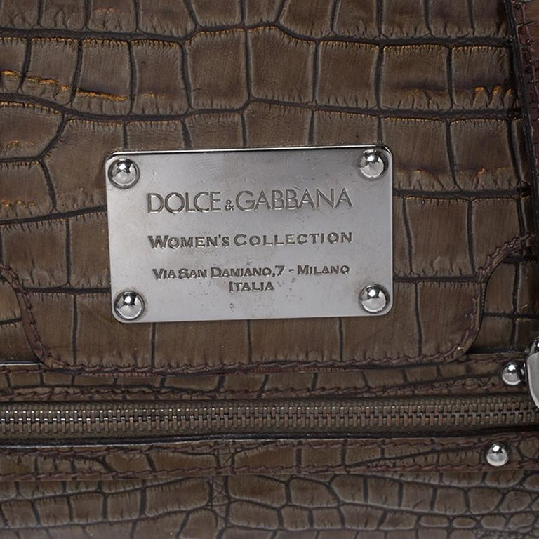 Dolce & Gabbana Brown Croc Embossed Patent Leather Miss Easy Way Shoulder Bag For Sale 1
