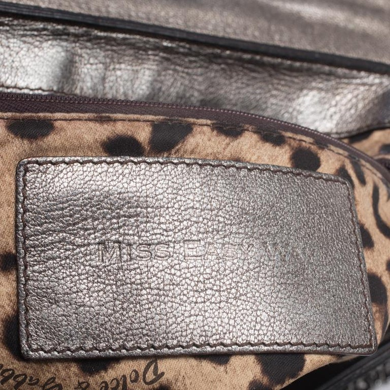 Dolce & Gabbana Brown Croc Embossed Patent Leather Miss Easy Way Shoulder Bag For Sale 2