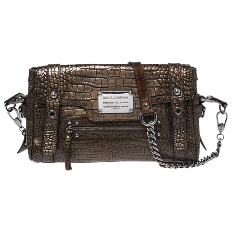 Dolce & Gabbana Brown Croc Embossed Patent Leather Miss Easy Way Shoulder Bag For Sale