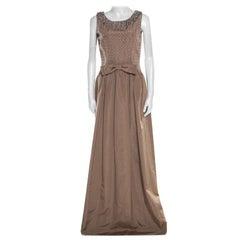 Dolce & Gabbana Brown Embellished Silk Sleeveless Gown M