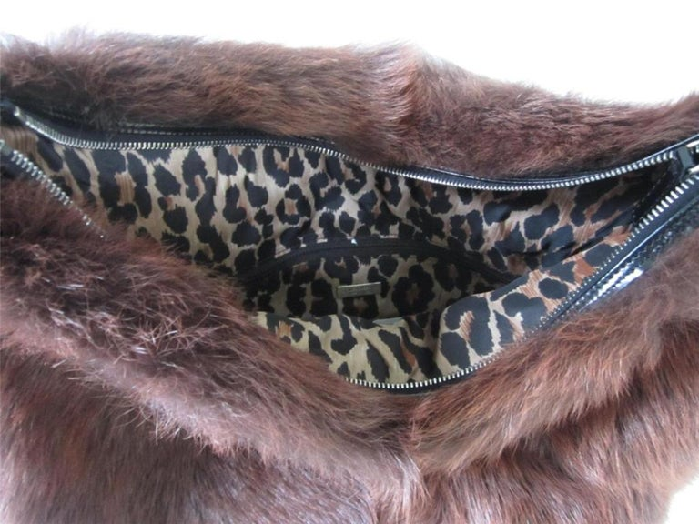 Women's DOLCE & GABBANA Brown Fur Tote Bag Handbag HOBO Purse New Never used  For Sale