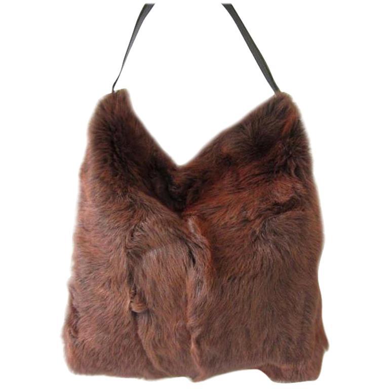 DOLCE & GABBANA Brown Fur Tote Bag Handbag HOBO Purse New Never used