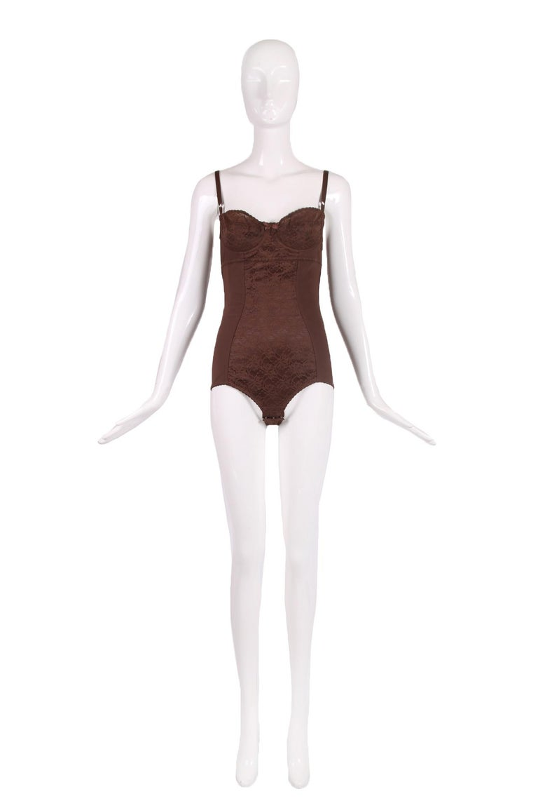 Black Dolce & Gabbana Brown Lace Bodysuit  For Sale