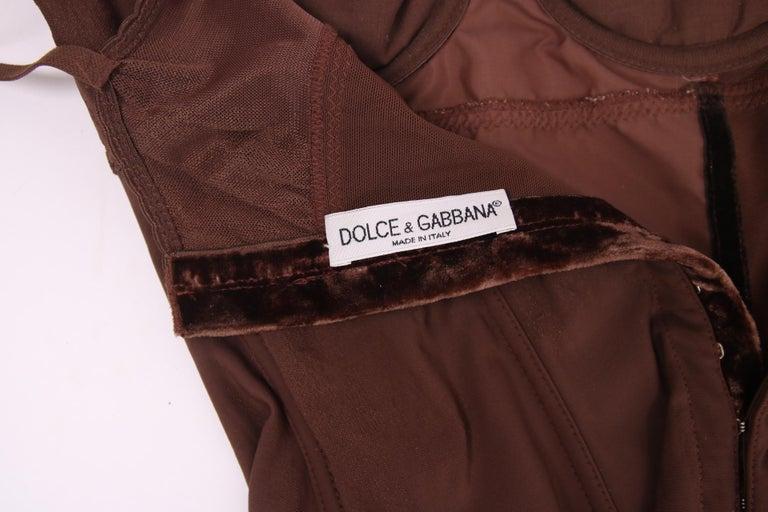 Women's Dolce & Gabbana Brown Lace Bodysuit  For Sale