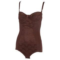 Dolce & Gabbana Brown Lace Bodysuit