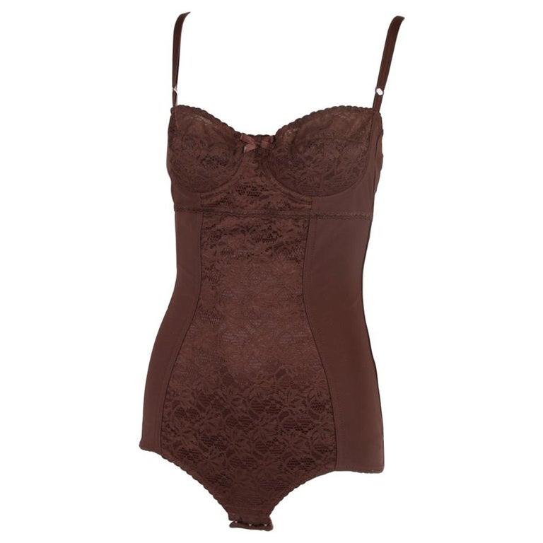 Dolce & Gabbana Brown Lace Bodysuit  For Sale