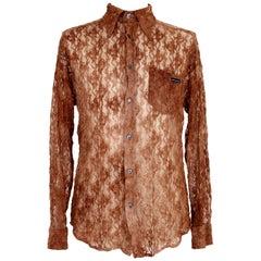 Dolce & Gabbana Brown Lace Cotton Shirt Men's 2000s