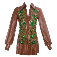 Dolce & Gabbana brown leather embellished blouse, ss 2001