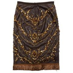 Dolce & Gabbana Brown Leather Embellished Skirt