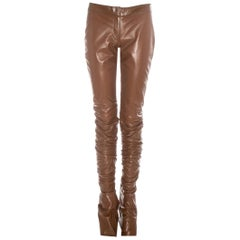 Dolce & Gabbana brown leather extra long skinny pants, fw 2001