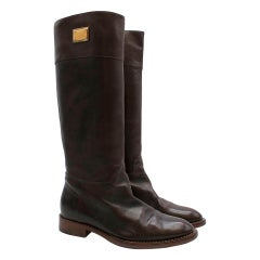Dolce & Gabbana Brown Leather High Boots SIZE 37.5