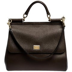 Dolce & Gabbana Brown Leather Large Miss Sicily Top Handle Bag