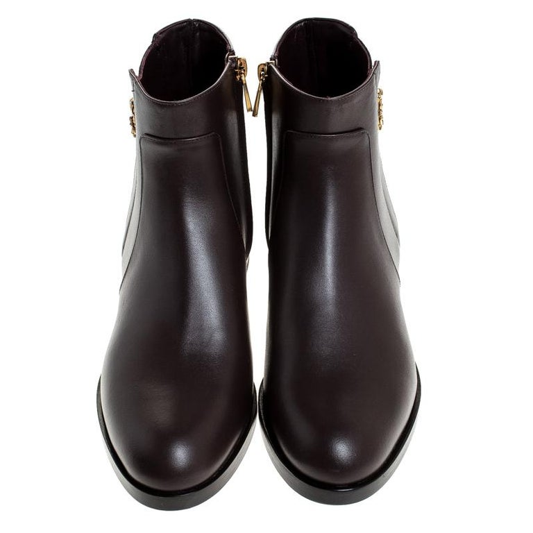Black Dolce & Gabbana Brown Leather Logo Detail Ankle Boots Size 39