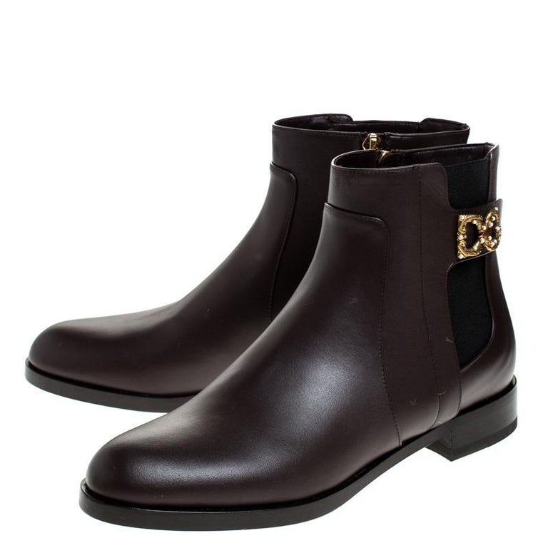 Women's Dolce & Gabbana Brown Leather Logo Detail Ankle Boots Size 39