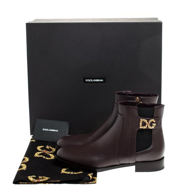 Dolce & Gabbana Brown Leather Logo Detail Ankle Boots Size 39 3