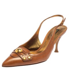 Dolce & Gabbana Brown Leather Logo Pointed Toe Slingback Pumps Size 39.5