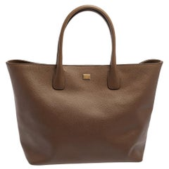 Dolce & Gabbana Brown Leather Shopper Tote