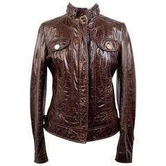 Dolce & Gabbana Brown Leather Zip Biker Style Jacket Size 42