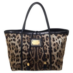 Dolce & Gabbana Brown Leopard Print Canvas and Leather Miss Escape Tote