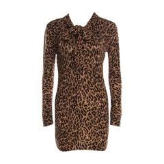 Dolce & Gabbana Brown Leopard Print Cashmere Neck Tie Detail Tunic S