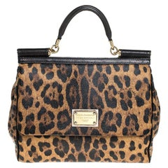 Dolce & Gabbana Brown Leopard Print Coated Canvas Miss Sicily Top Handle Bag