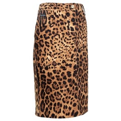 Dolce & Gabbana Brown Leopard Print Cotton Fitted Skirt L