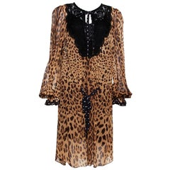 Dolce & Gabbana Brown Leopard Print Cotton Kaftan Dress L