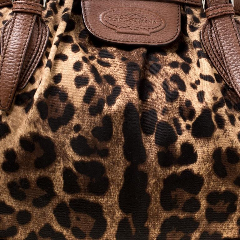 Dolce & Gabbana Brown Leopard Print Fabric and Leather Animalier Satchel For Sale 6