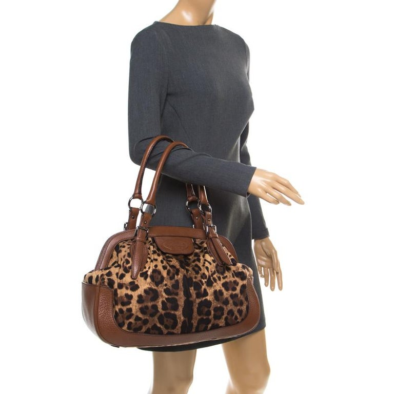 Dolce & Gabbana Brown Leopard Print Fabric and Leather Animalier Satchel In Excellent Condition For Sale In Dubai, Al Qouz 2