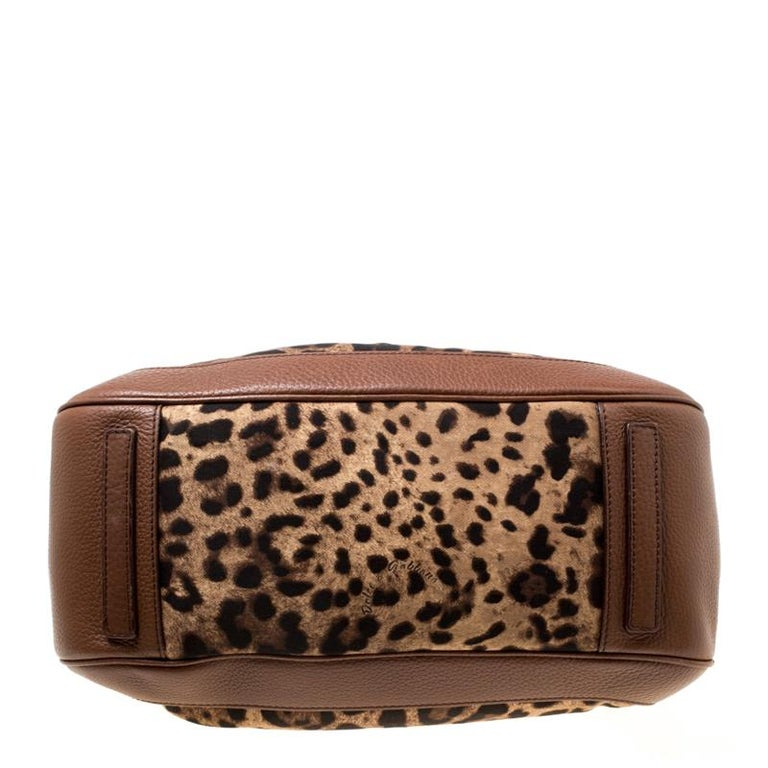 Women's Dolce & Gabbana Brown Leopard Print Fabric and Leather Animalier Satchel For Sale