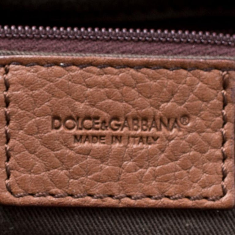 Dolce & Gabbana Brown Leopard Print Fabric and Leather Animalier Satchel For Sale 1