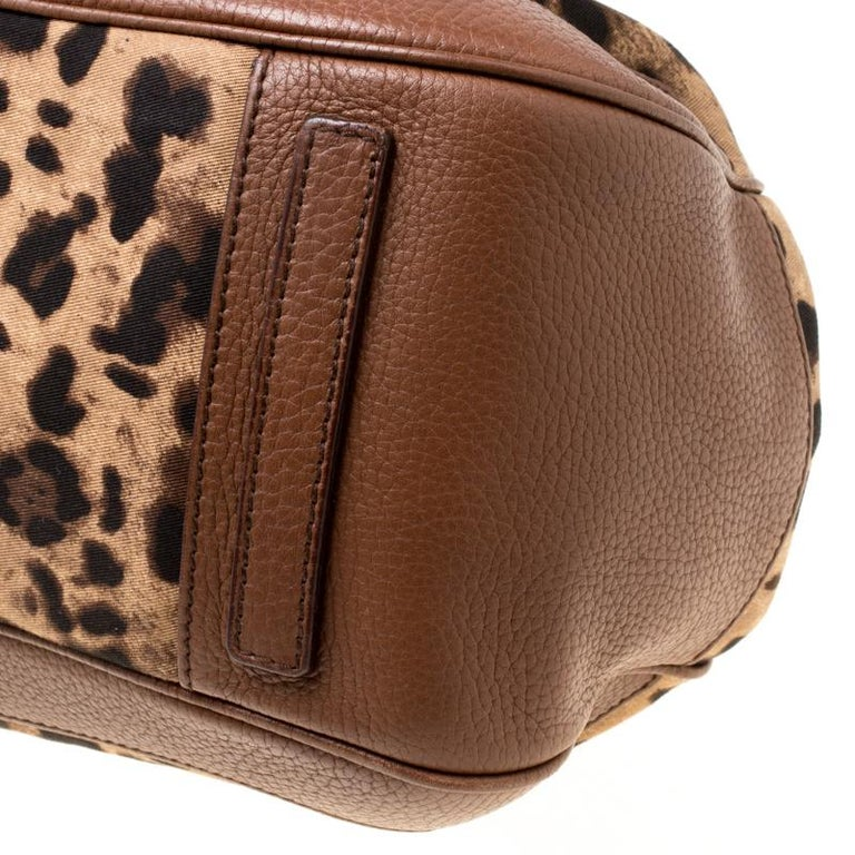 Dolce & Gabbana Brown Leopard Print Fabric and Leather Animalier Satchel For Sale 3