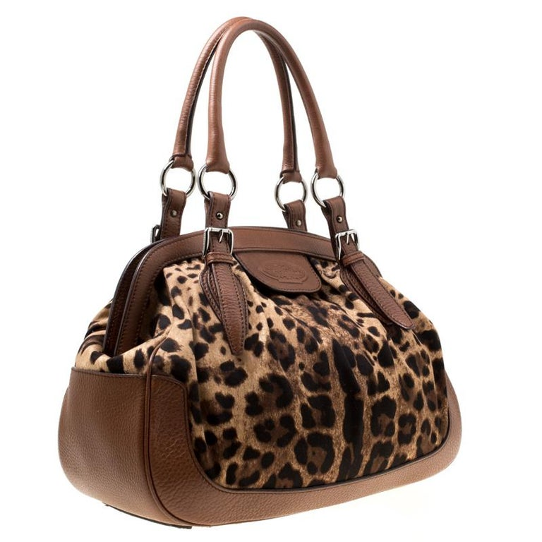 Dolce & Gabbana Brown Leopard Print Fabric and Leather Animalier Satchel For Sale 5