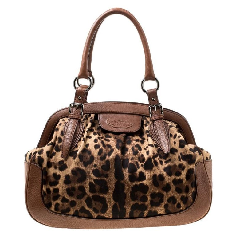Dolce & Gabbana Brown Leopard Print Fabric and Leather Animalier Satchel For Sale