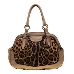 Dolce & Gabbana Brown Leopard Print Fabric and Leather Animalier Satchel