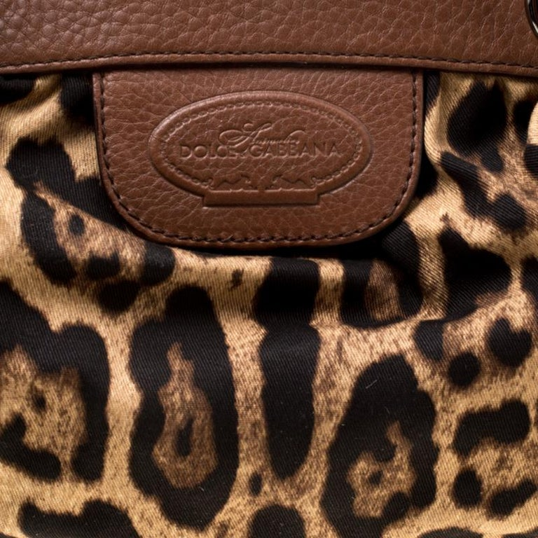 Dolce & Gabbana Brown Leopard Print Fabric and Leather Animalier Zip Satchel For Sale 6