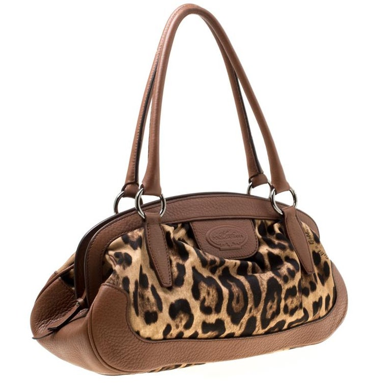 Women's Dolce & Gabbana Brown Leopard Print Fabric and Leather Animalier Zip Satchel For Sale