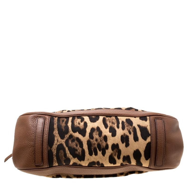 Dolce & Gabbana Brown Leopard Print Fabric and Leather Animalier Zip Satchel For Sale 1