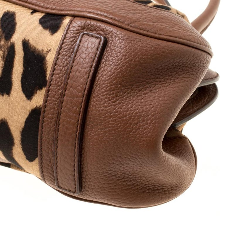 Dolce & Gabbana Brown Leopard Print Fabric and Leather Animalier Zip Satchel For Sale 4