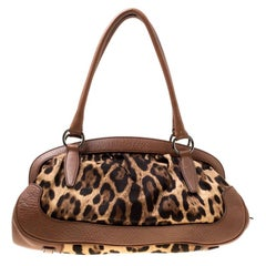 Dolce & Gabbana Brown Leopard Print Fabric and Leather Animalier Zip Satchel