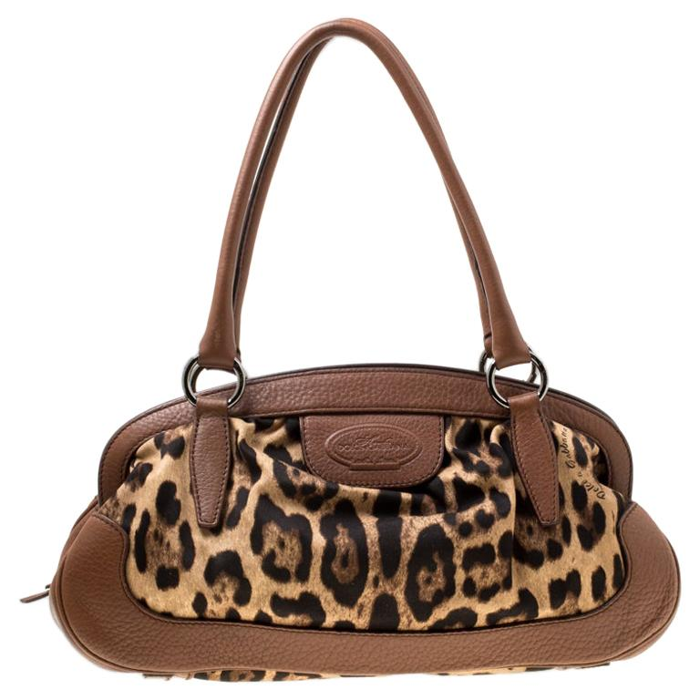 Dolce & Gabbana Brown Leopard Print Fabric and Leather Animalier Zip Satchel For Sale