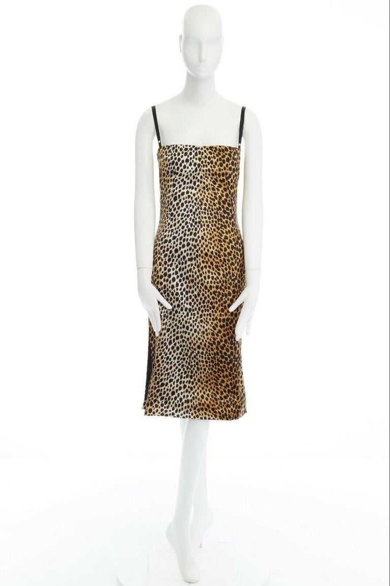 Beige DOLCE GABBANA brown leopard print silk blend padded bustier midi dress IT38 XS