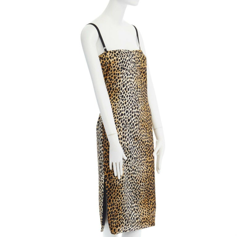 DOLCE GABBANA brown leopard print silk blend padded bustier midi dress IT38 XS In Excellent Condition In Hong Kong, NT