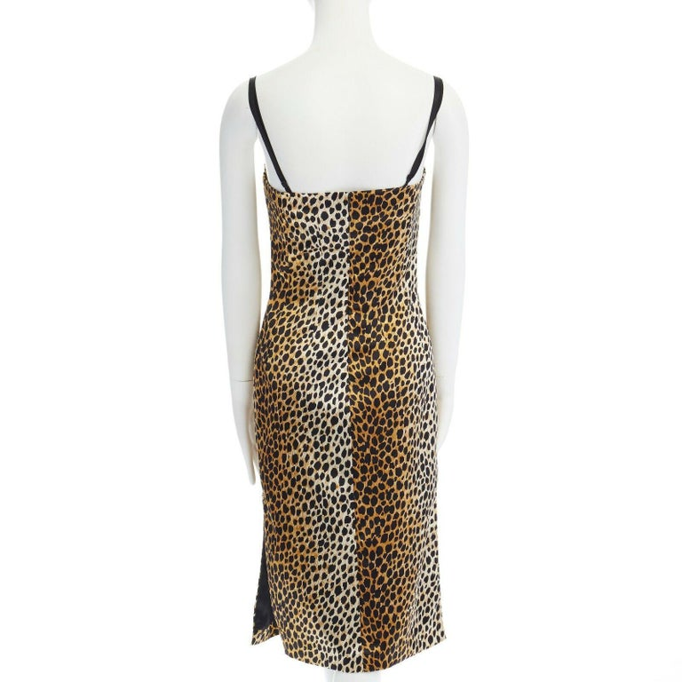 DOLCE GABBANA brown leopard print silk blend padded bustier midi dress IT38 XS 2