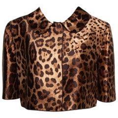 Dolce & Gabbana Brown Leopard Printed Silk Cropped Bolero Jacket M