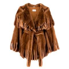Dolce & Gabbana Brown Mink Fur Fringe Cape Wrap Coat XXS