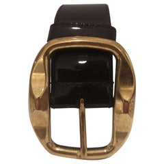 Dolce & Gabbana brown patent leather belt
